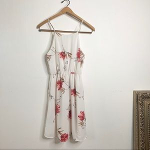 Floral White Casual LUSH Mini Sleeveless Dress